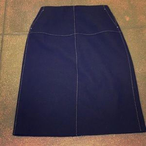 J. Crew wool dark blue/black skirt with stitches